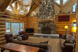 The interior of a cabin @ Redwoods in Yosemite Cabins.  Inside the park, they offer a multitude of different cabin options.