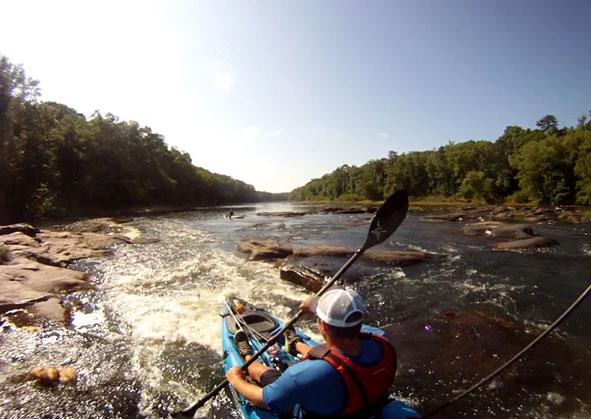 Drew Haerer kayaking
