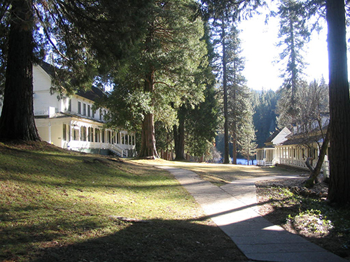 Wawona Hotel property is expansive and scenic.  Nestled in a forested area inside Yosemite Park