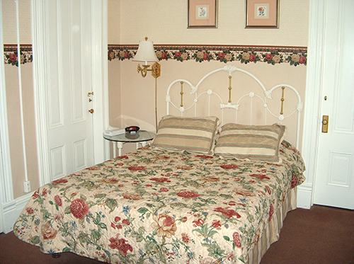 Traditional, Victorian style bedding and decor at the Wawona Hotel