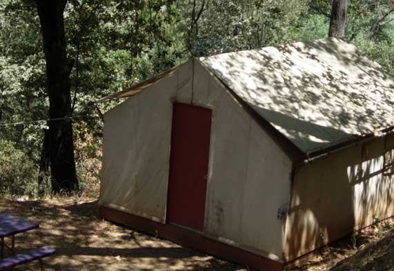 A very basic cabin at the Yosemite Bug Rustic Mountain Resort.  One of a handful of different types of cabins on the property